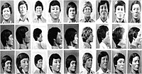 Facial reconstructions of the unidentified victims, released to the media in 1980. Depicted left to right are Body 5, Body 9 (later identified as Timothy McCoy), Body 24 (later identified as James Haakenson), Body 19 (later identified as William Bundy), Body 21, Body 28, Body 13, Body 26, and Body 10.