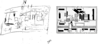Gacy's sketch of burial locations in his basement (left), and investigators' later diagram (right)