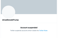 """Message displayed on the """"@realDonaldTrump"""" account after Trump's ban on January 8, 2021"""