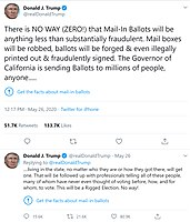 """The two tweets on May 26, 2020 from President Trump that Twitter had marked """"potentially misleading"""" (inserting the blue warning icon and """"Get the facts..."""" language) that led to the executive order"""