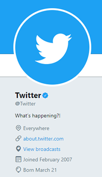 The official Twitter profile of Twitter, Inc. The blue check mark right of the profile name indicates that it is a verified account.