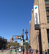 Twitter's San Francisco headquarters, as seen from a corner on Market Street