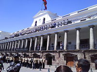 Carondelet Palace, Presidential Palace – with changing of the guards. The Historic Center of Quito, Ecuador, is one of the largest, least-altered and best-preserved historic centers in the Americas. This center was, together with the historic centre of Kraków in Poland, the first to be declared World Heritage Site by UNESCO on 18 September 1978.