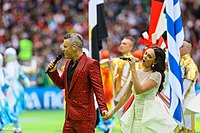 """Williams and Russian soprano Aida Garifullina performing """"Angels"""" at the 2018 FIFA World Cup opening ceremony in Moscow, Russia"""