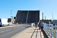 Haven Bridge; one of the two main links to the town pictured in its upright position allowing boats to pass beneath.