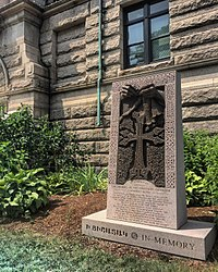 """""""A Mother's Hands"""" Armenian Genocide memorial outside of Lowell City Hall."""