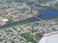 Aerial view of LeLacheur Park and the UMass-Lowell campus