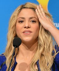 Shakira at a press conference for the 2014 FIFA World Cup closing ceremony