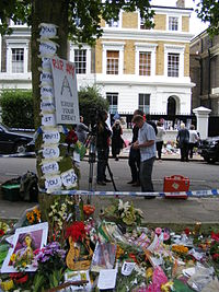 Tributes outside Amy Winehouse's home at Camden Square in the days following her death.