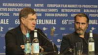 Gus Van Sant and Joaquin Phoenix at the press conference of Don't Worry, He Won't Get Far on Foot at Berlinale 2018