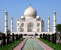 Taj Mahal, one of the most famous tourist destinations in Uttar Pradesh and India.