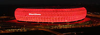 Allianz Arena is lit in red for Bayern home games