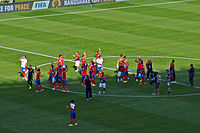 Costa Rica national football team players celebrating their classification at the FIFA World Cup 2014 for the round of 16 in first place of Group D at Mineirão stadium in Belo Horizonte after their draw with England.