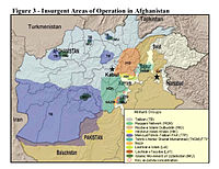 Insurgent regions in Afghanistan and border regions of Pakistan, as of 2010