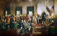 Scene at the Signing of the Constitution of the United States by Howard Chandler Christy, 1940. Washington is the presiding officer standing at right.