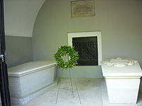 The sarcophagi of George (right) and Martha Washington at the present tomb's entrance