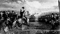 Washington taking command of the Continental Army, just before the siege