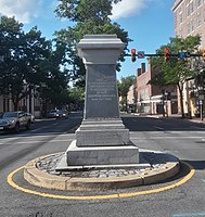 The pedestal on June 6, 2020, after the statue's removal.