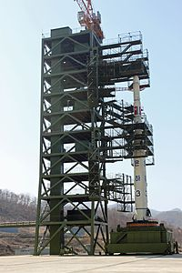 Unha-3 space launch vehicle at Sohae Satellite Launching Station