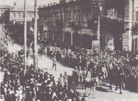 The Soviet 11th Red Army enters Yerevan in 1920.