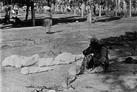 An Armenian mother beside the corpses of her five children