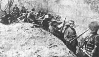 Siege of Van, Armenian troops holding a defense line against Ottoman forces in the walled city of Van in May 1915