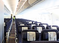 The Economy cabin on a former Air France Airbus A380-800
