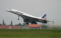 An Air France Concorde at Charles de Gaulle Airport in 2003