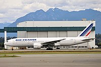 An Air France 777-200ER taking off from Vancouver International Airport