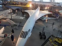The aerial view of an Air France Concorde (registration: F-BVFA) at the Steven F. Udvar-Hazy Center in Virginia