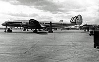 A Lockheed Super Constellation of Air France at Heathrow Airport in April 1955