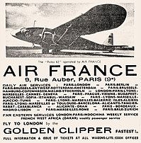 1936 Air France ad for service using Potez 62 twin-engine aircraft