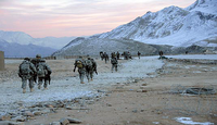 US Army GIs return to their landing zone, to return to their base in Surobi District, Kabul Province, Afghanistan.