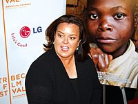 O'Donnell at the 2008 Tribeca Film Festival premiere for the I Am Because We Are documentary, about the millions of orphans in the African country of Malawi who lost parents and siblings to HIV and AIDS. Her passion for protecting children has led her to be outspoken on issues affecting them, including world affairs and adoption.