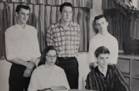 Kaczynski (bottom right) with other merit scholarship finalists from his high school