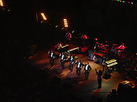 The Temptations on stage at London's Royal Albert Hall, November 2005. Pictured L-R: Joe Herndon, Otis Williams, G.C. Cameron, Terry Weeks, and Ron Tyson.