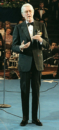 Speaking at The Kennedy Center on Inauguration Day, 1981, in Washington D.C.