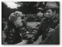 Stewart with Shelley Winters in Winchester '73, his first project with Anthony Mann. In the 1950s, Stewart redefined his career as the star of Western films.