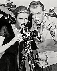 Stewart with co-star Grace Kelly in Rear Window (1954), which allowed him to explore new depths of his screen persona
