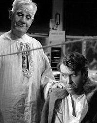 Stewart as George Bailey and Travers as Clarence Odbody in It's a Wonderful Life (1946). Although only a moderate success at the time of its release, the film has later come to define Stewart's legacy.