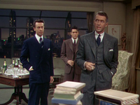 Stewart with Farley Granger and John Dall in Rope (1948), his first collaboration with Alfred Hitchcock. He was criticized for being miscast in the role of a cynical professor.