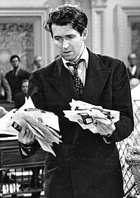 Stewart in Frank Capra's Mr. Smith Goes to Washington (1939). It was one of the most critically acclaimed performances of Stewart's career.