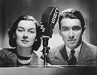 Rosalind Russell and Stewart at CBS Radio in 1937