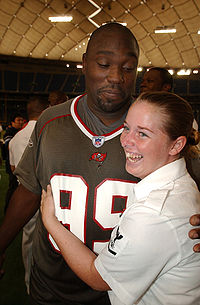 Sapp (during his tenure with the Bucs) visits members of the US Navy at the Tokyo Dome.