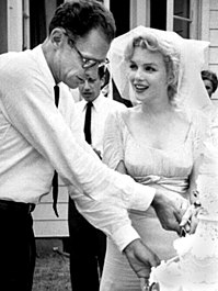 Miller and Marilyn Monroe tie the knot in Westchester County, New York, 1956