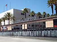 The entrance of the Fox Studio Lot in Century City, where a giant mural of John McClane crawling through a vent was erected as part of the film's 25th-anniversary celebration in 2013