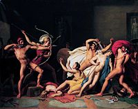 An 1812 painting by Joseph-Ferdinand Lancrenon of Odysseus, aided by Telemachus, preparing to slaughter his wife's suitors. Alexander Boon compared Odysseus' tale to John McClane's quest to rescue his wife from the terrorists.