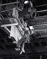 The set of Hans Gruber's fall. Alan Rickman was suspended from a raised platform and then dropped onto an airbag below.