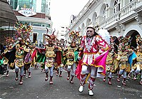 """The Diablada, dance primeval, typical and main of Carnival of Oruro a Masterpiece of the Oral and Intangible Heritage of Humanity since 2001 in Bolivia (File: Fraternidad Artística y Cultural """"La Diablada"""")"""