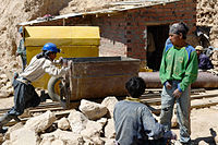 Young miners at work in Potosí